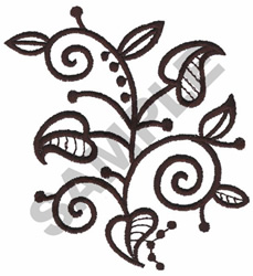DRAWN LEAVES embroidery design