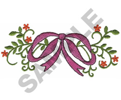 FLOWERS & BOW embroidery design