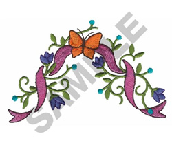 RIBBON, BUTTERFLY, FLORAL EMBLEM embroidery design