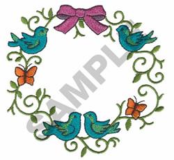 BUTTERFLIES & BIRDS WREATH embroidery design