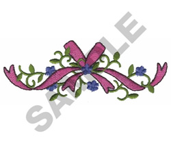 FLOWERS, VINE AND RIBBON embroidery design