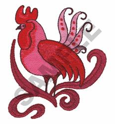 ROOSTER FLORAL EMBLEM embroidery design