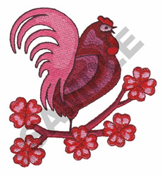 ROOSTER WITH EMBLEM embroidery design