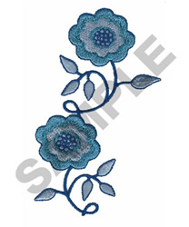 TWO FLOWERS TOGETHER embroidery design