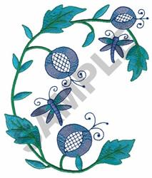 Elegant Floral Swirl embroidery design