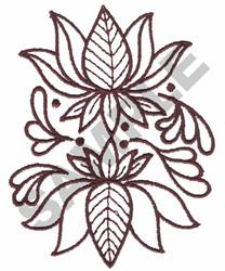 Elegant Redwork Floral embroidery design