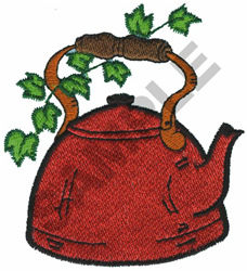 TEA KETTLE WITH VINE embroidery design