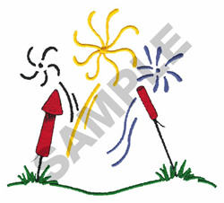 FIREWORKS SCENE embroidery design