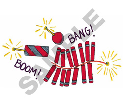 BOOM! BANG! FIREWORKS embroidery design