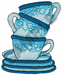 TEA CUPS AND SAUCERS embroidery design