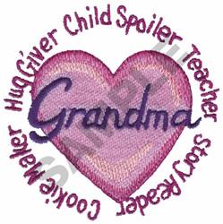 GRANDMA HUG GIVER CHILD... embroidery design