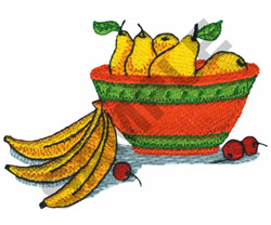 BASKET OF PEARS & BANANAS embroidery design