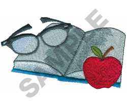 BOOK, APPLE, & READING GLASSES embroidery design