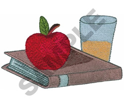 BOOK, APPLE, AND DRINK embroidery design