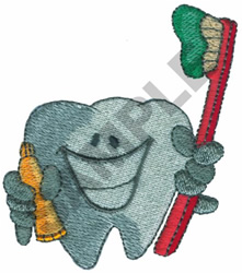 TOOTH HOLDING BRUSH & PASTE embroidery design