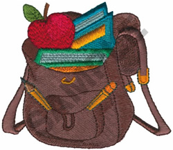 BACKPACK WITH BOOKS & APPLE embroidery design