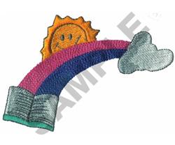 BOOK, RAINBOW, SUN, & CLOUD embroidery design