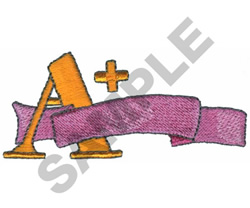 A PLUS WITH RIBBON embroidery design