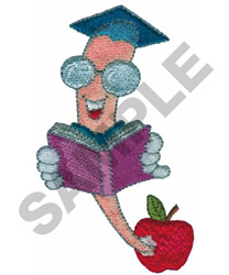 BOOKWORM AND APPLE embroidery design