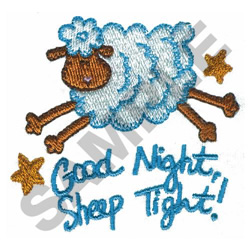 GOOD NIGHT, SHEEP TIGHT embroidery design