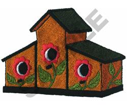 FLORAL TRIPLEX BIRDHOUSE embroidery design