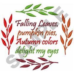 AUTUMN POEM WITH LEAVES embroidery design
