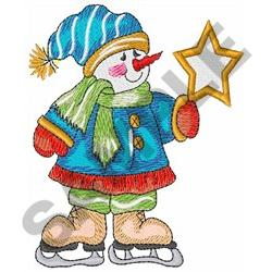 SNOWMAN HOLDING STAR embroidery design