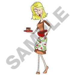 WOMAN WITH FUDGE embroidery design