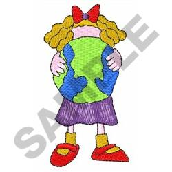 CHILD HOLDING EARTH embroidery design
