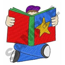 BOY READING BOOK embroidery design