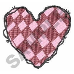 CHECKERED HEART embroidery design