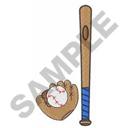 BAT GLOVE AND BALL embroidery design