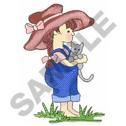 COUNTRY GIRL WITH CAT embroidery design
