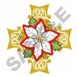 CROSS POINSETTIA APPLIQUE embroidery design