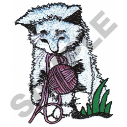 KITTY WITH YARN embroidery design