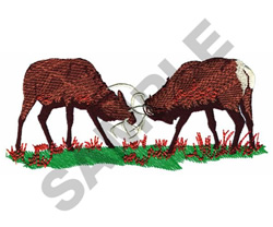 DEER BUTTING HEADS embroidery design