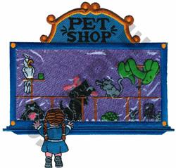 PET SHOP WINDOW APPLIQUE embroidery design