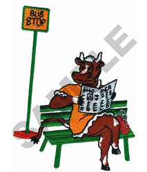 BUS STOP COW embroidery design