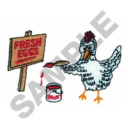 CHICKEN SELLING EGGS embroidery design
