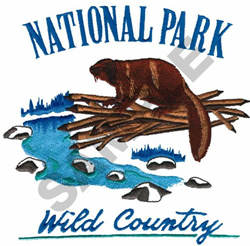 NATIONAL PARK WILD COUNTRY BEAVER embroidery design