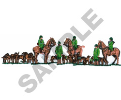 FOXHUNTERS WITH HOUNDS embroidery design
