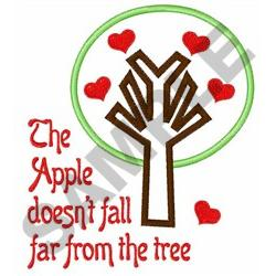 APPLE DOESNT FALL FAR embroidery design