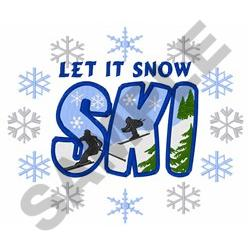 SKI LET IT SNOW embroidery design