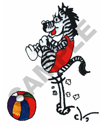 ZEBRA WITH BEACH BALL embroidery design