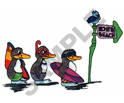 PENGUINS GOING TO NORTH BEACH embroidery design