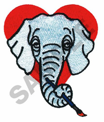 ELEPHANT IN HEART embroidery design