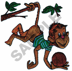 MONKEY PICKING COCONUTS embroidery design