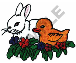 FLORAL BUNNY AND CHICK embroidery design
