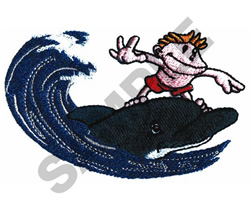 BOY RIDING WAVE ON A DOLPHIN embroidery design