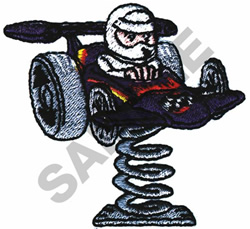 BOY DRIVING TOY RACE CAR embroidery design